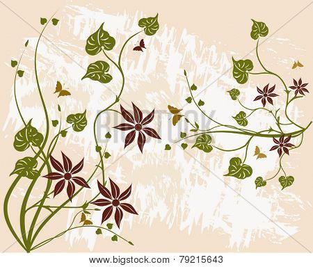 Floral grunge background - vector