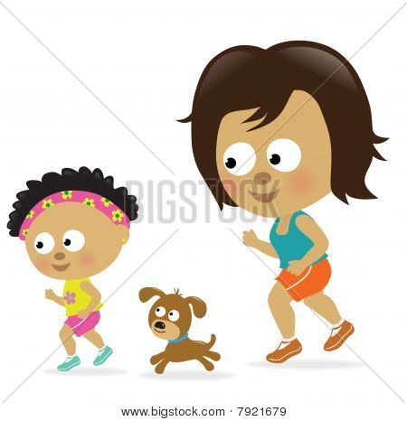 Mother and daughter jogging (African American)