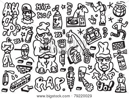 rap , hip hop - doodles set