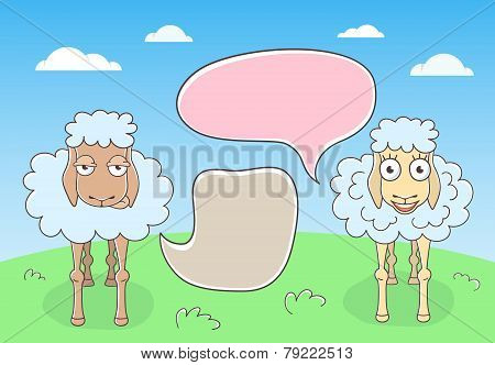 Sheep Conversation with Speech Bubbles