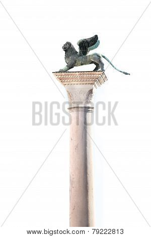 Winged Lion Of Venice On A White Background