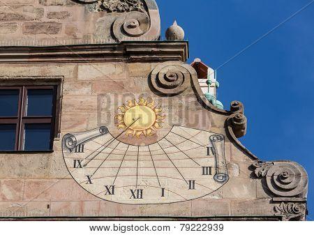 Old Sundial On Fembohaus Stadtmuseum