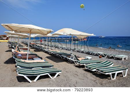 Sunbeds And Parasols On  Beach Near Resort Of Kemer.