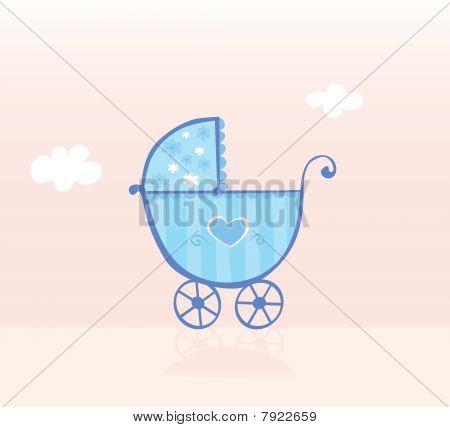 Blue Pram Or Stroller For Baby Boy