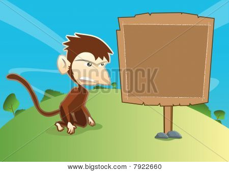 Monkey With Empty Wooden Signage
