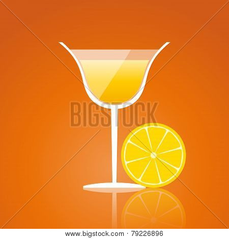 Lemon Drink On An Orange Background