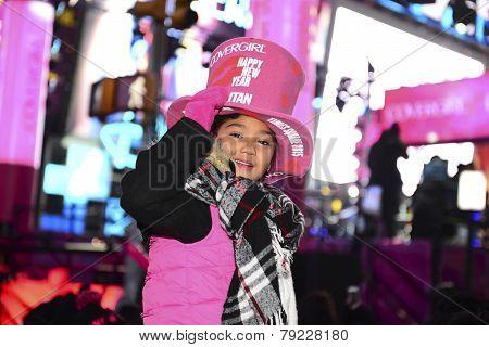 Little reveler in pink hat