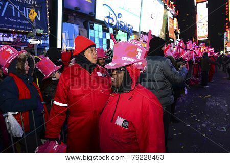 Times Square Alliance personnel in hats