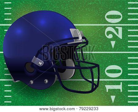 American Football Helmet On Field Illustration