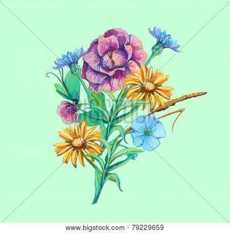 bouquet of flowers camomile, cichorium, forget-me-not in waterco