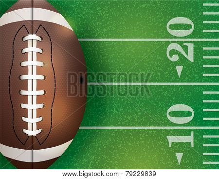 American Football Ball And Field Illustration