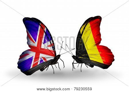 Two Butterflies With Flags On Wings As Symbol Of Relations Uk And Belgium