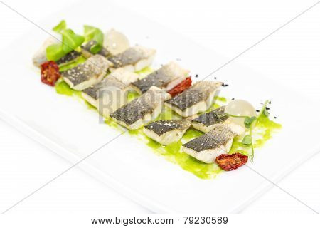 baked fish with salad