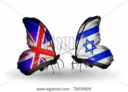 Two Butterflies With Flags On Wings As Symbol Of Relations Uk And Israel