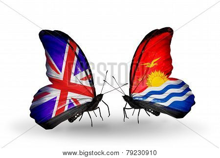 Two Butterflies With Flags On Wings As Symbol Of Relations Uk And Kiribati