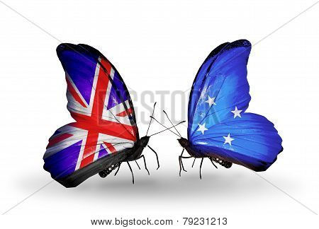 Two Butterflies With Flags On Wings As Symbol Of Relations Uk And Micronesia