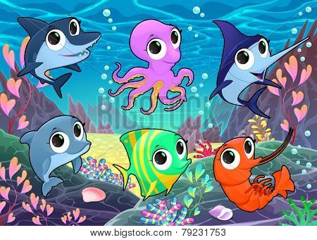 Funny marine animals in the sea. Vector cartoon illustration