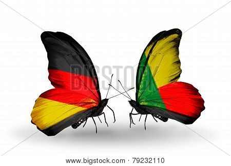 Two Butterflies With Flags On Wings As Symbol Of Relations Germany And Benin