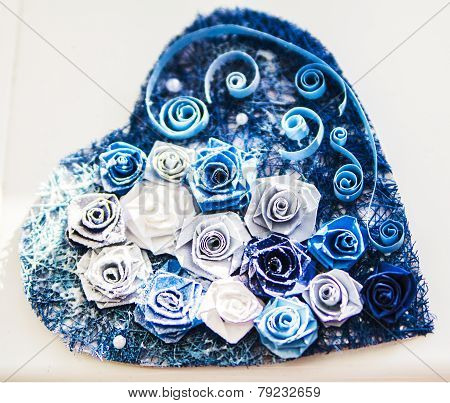 Valentine heart made of blue roses