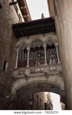 Gothic Bridge In Barcelona