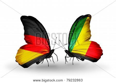 Two Butterflies With Flags On Wings As Symbol Of Relations Germany And Kongo