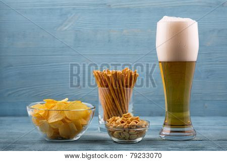 Beer And Snacks, Chips, Bread Sticks And Peanuts