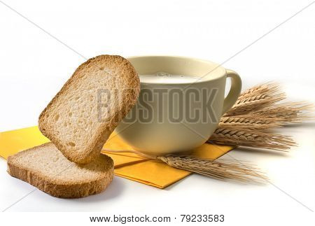 breakfast set with milk and rusks