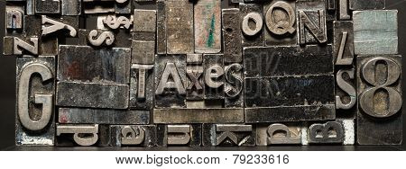 Metal Type Printing Press Typeset Obsolete Typography Text Letters Taxes