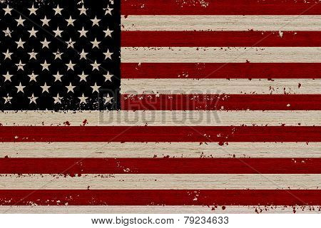 Usa Flag Wood Background