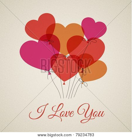 Vector Happy Valentine's card with hearts (I Love You)