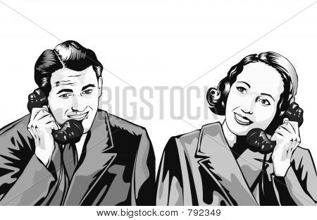 man and woman on phone