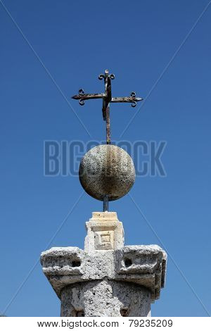 PERAST, MONTENEGRO - JUNE, 08: Cross, Fragment of Our Lady of the Rock church in Perast, Montenegro on June 08, 2012