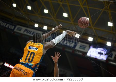 VALENCIA, SPAIN - DECEMBER 30: Sato during Spanish League match between Valencia Basket Club and Juventut at Fonteta Stadium on December 30, 2014 in Valencia, Spain