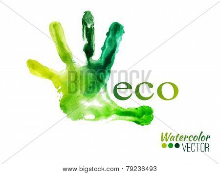 Vector watercolor green handprint. Ecology concept