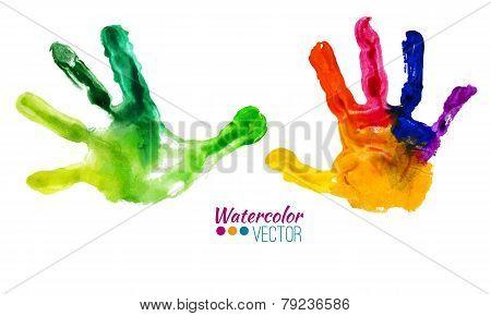 Vector watercolor colorful handprints