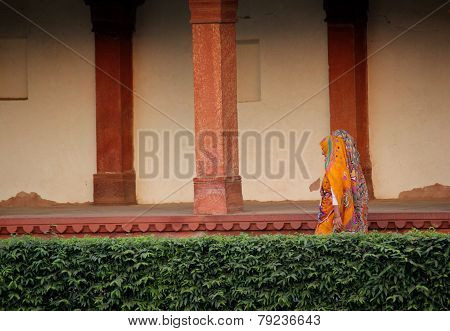 Indian women walking at Fatehpur Sikri