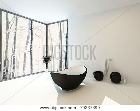 3D Rendering of Boat-shaped black bathtub with wall mounted toilet and bidet in a spacious bright light white modern bathroom with floor-to-ceiling windows