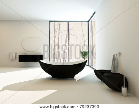 3D Rendering of Contemporary black bathroom suite with a boat-shaped freestanding bathtub, wall-mounted vanity, toilet and bidet in a bright white airy bathroom interior with floor-to-ceiling window