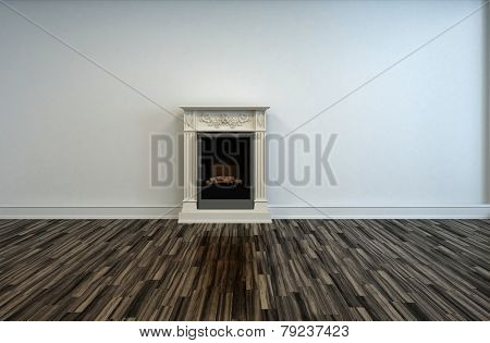 3D Rendering of Chimney Wall Design Inside Empty Architectural Room with White Wall and Wooden Flooring Design.