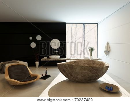 3D Rendering of Contemporary luxury bathroom interior with freestanding marbled bath, modern wooden recliner chair and vanity on a black accent wall with a counter extending across a large view window