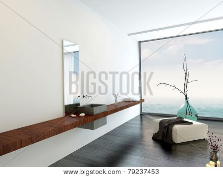 3D Rendering of Wall-mounted hand basin in a minimalist luxury bright airy white bathroom with an ottoman and decorative glass vase in front of a large floor-to-ceiling window with sky view