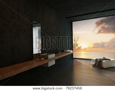 3D Rendering of Modern bathroom interior with a wall-mounted vanity, ottoman and a colorful orange ocean sunset view in a waterfront property or apartment