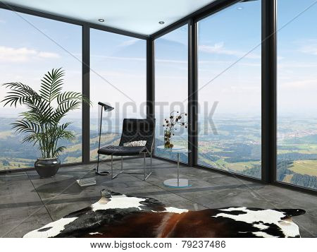 3D Rendering of Wrap around glass windows with a country view with a tiled floor, animal skin, potted palm and chair in an architectural background