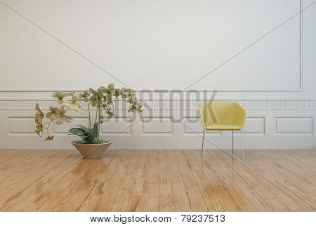 3D Rendering of Single Yellow Chair and Beautiful Flowers on Vase Ornament Inside an Architectural House with White Wall and Wooden Floor.