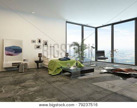 3D Rendering of Large spacious modern bedroom interior with view windows overlooking countryside and grey and white decor with green accents and artwork on the wall
