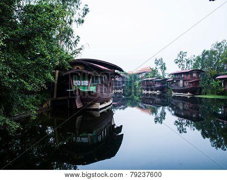 Houseboat In The Tha Chin River Nakhonpathom