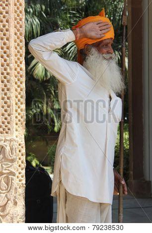 An Indian Man Working As Watchman