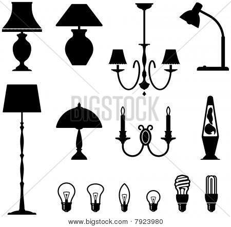 Electric lamps, chandeliers and light bulbs