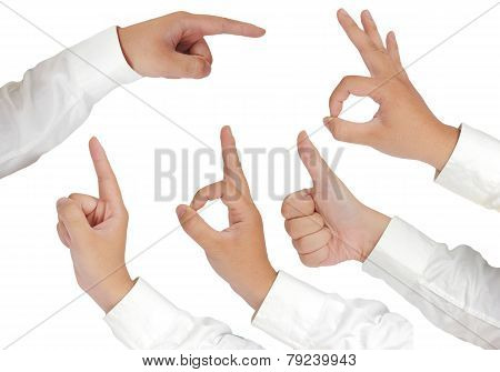 Hand Gestures Isolated on White