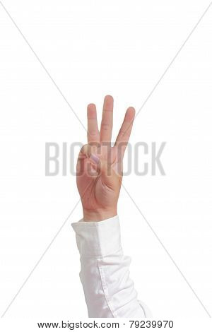 Number Three Hand Gesture Isolated on White